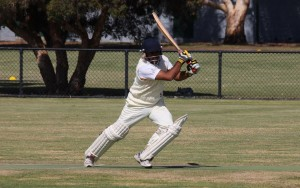 Le Page Park's Roshan Perera on the drive during his dazzling century on Saturday. Photo credit - Tim O'Meara