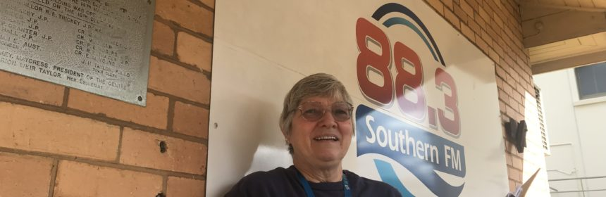 Suzie Hill outside Southern FM